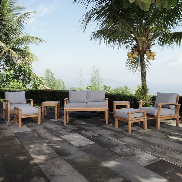 Elaina Outdoor Patio 8 Piece Teak Sofa Seating Group with Cushion by Rosecliff Heights
