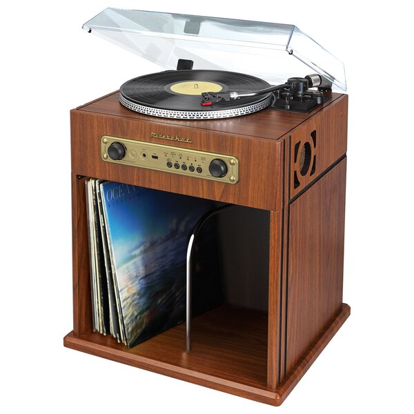 Stereo Turntable with Bluetooth Receiver and Record Storage Cabinet by Studebaker