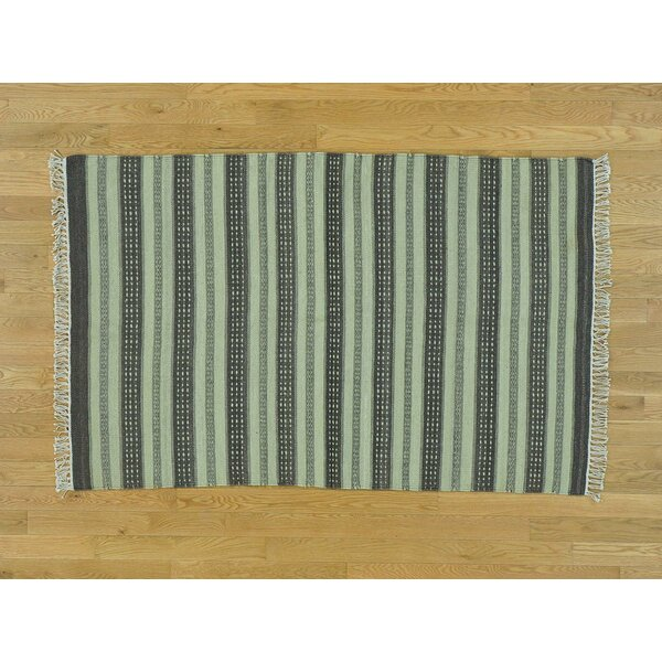 One-of-a-Kind Bessey Reversible Striped Handmade Kilim Wool Area Rug by Isabelline