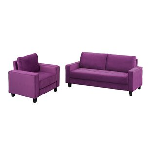 Modern Velvet 2 Piece Living Room Sofa Set For Home Or Office With Armchair And 3-Seater Couch, Purple by Ebern Designs