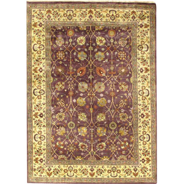 Fine Indo Tabriz Hand-Knotted Wool Purple/Ivory Area Rug by Pasargad NY