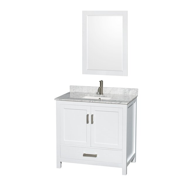 Sheffield 36 Single White Bathroom Vanity Set with Mirror by Wyndham Collection