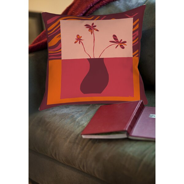 Minimalist Flowers 3 Printed Throw Pillow by Manual Woodworkers & Weavers