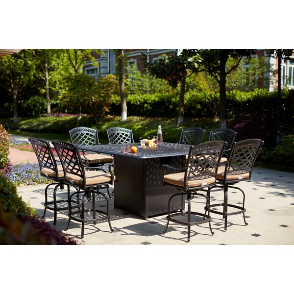 Minner 9 Piece Bar Height Dining Set with Cushions by Canora Grey
