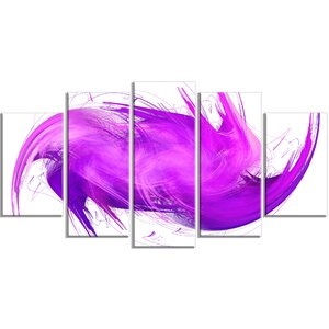 'Abstract Purple Fractal Pattern' Graphic Art Print Multi-Piece Image on Canvas by Design Art
