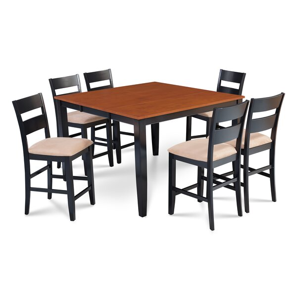 Charlestown 7 Piece Hardwood Counter Height Solid Wood Dining Set by Alcott Hill