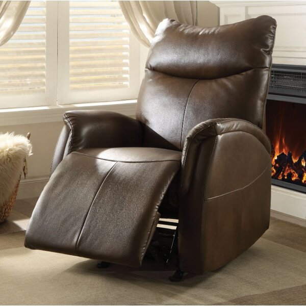 Woll Leather Manual Glider Recliner by Latitude Run