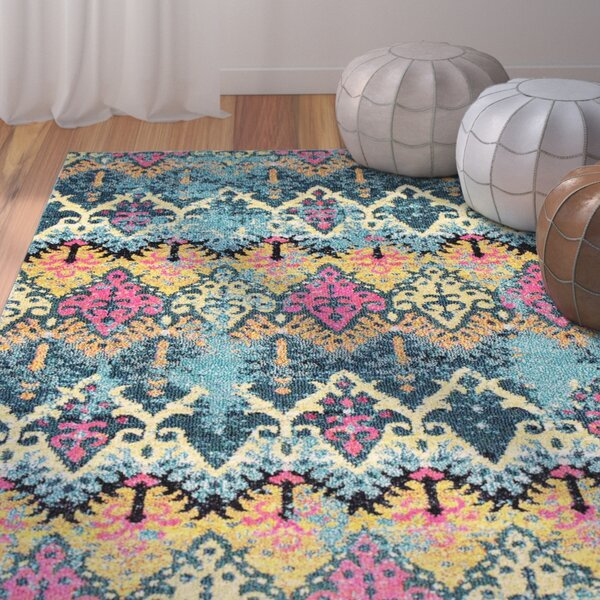 Chandler Blue/Yellow Area Rug by Bungalow Rose
