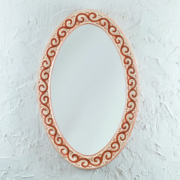 Maroon Swirl Accent Mirror by Novica