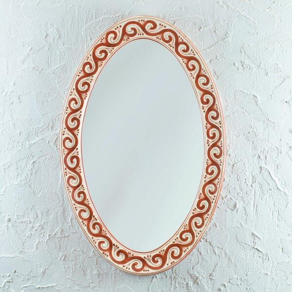 Maroon Swirl Accent Mirror by Novica