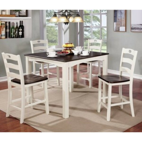 Valladares 5 Piece Counter Height Solid Wood Dining Set by August Grove