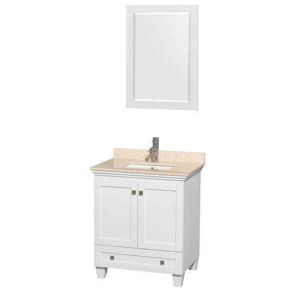 Acclaim 30 Single White Bathroom Vanity Set with Mirror by Wyndham Collection