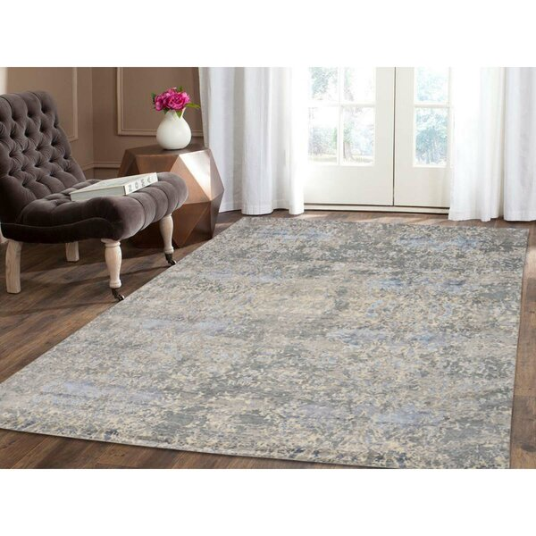 Abstract Oriental Hand-Knotted Silk Gray Area Rug by Williston Forge