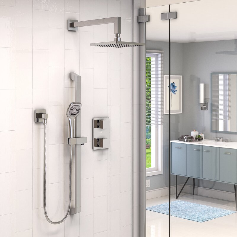 Stylish Thermostatic Complete Shower System with Rough-in Valve