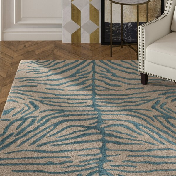 Langner Handmade Teal/Beige Area Rug by House of Hampton
