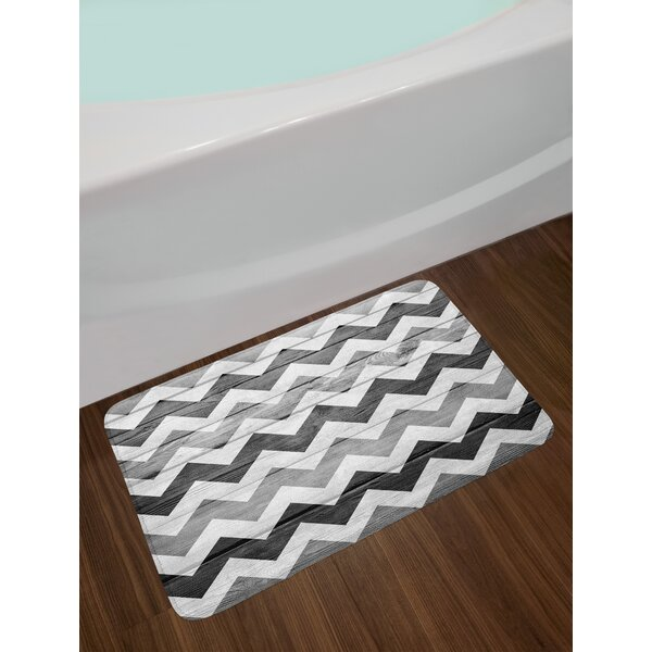 Chevron Pattern on Wooden Texture Background Rustic Home Print Non-Slip Plush Bath Rug by East Urban Home