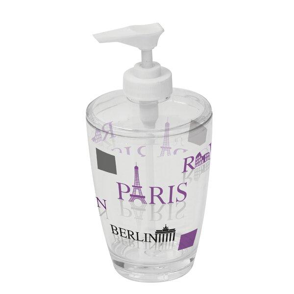 World Capitals Clear Acrylic Printed Bathroom Soap Dispenser by Evideco