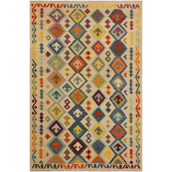 One-of-a-Kind Jorge Handmade Kilim Wool Beige/Blue Area Rug by Isabelline