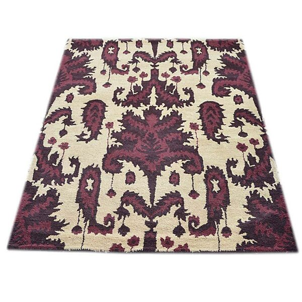 Creager Hand-Tufted Wool Cream/Purple Area Rug by House of Hampton