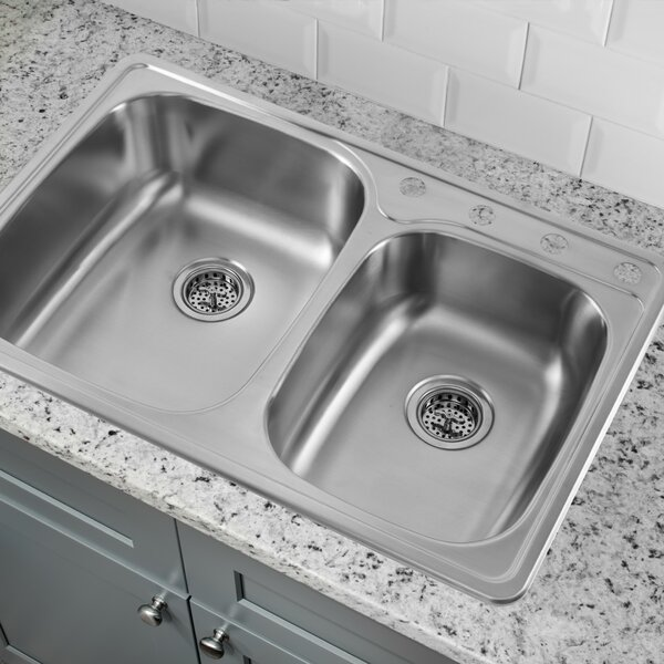 33 L x 22 W Double Basin Drop-In Kitchen Sink by Cahaba