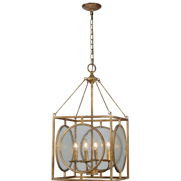 Hebb 4 - Light Candle Style Square / Rectangle Chandelier With Wood Accents By Wrought Studio