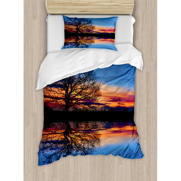 Panorama Tree Against Sunset at Magical Night with Sky Reflection Over Lake View Duvet Set by East Urban Home