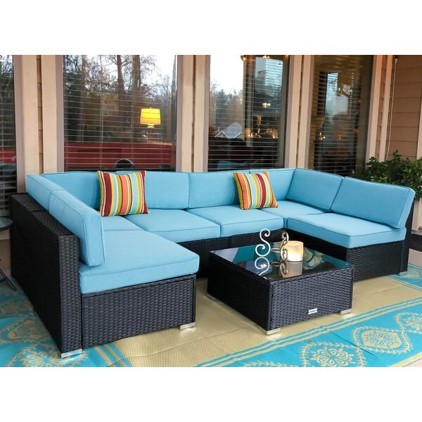 Antunez 7 Piece Sectional Seating Group with Cushions by Wrought Studio