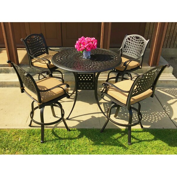 Campion 5 Piece Sunbrella Bar Height Dining Set with Cushions by Fleur De Lis Living