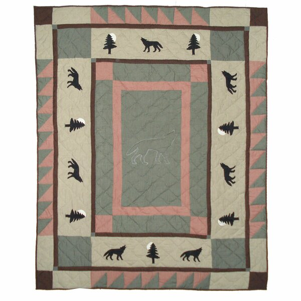 Wolf Trail Cotton Throw Blanket by Patch Magic