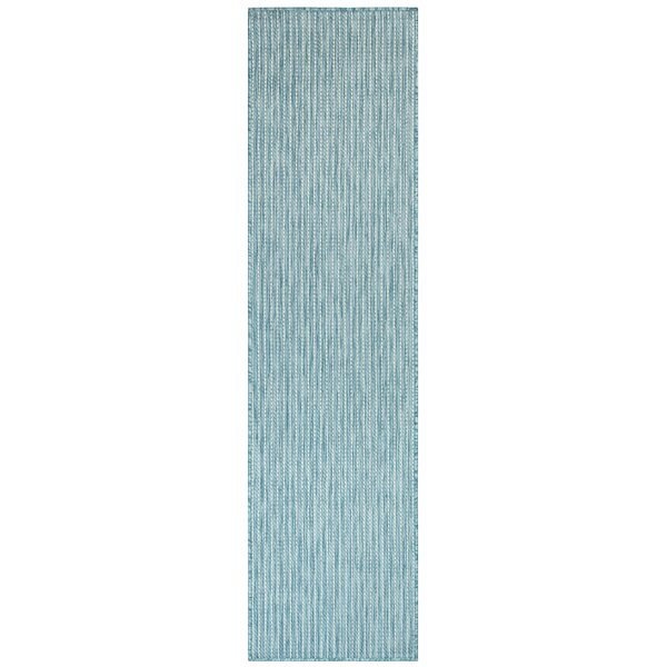 Desantiago Texture Stripe Blue Indoor/Outdoor Area Rug by Highland Dunes