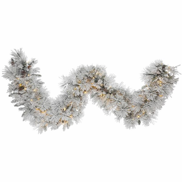 Flocked Artificial Christmas Garland with LED lights by The Holiday Aisle