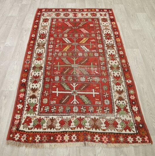 Stonecrest Antique Kazak Russian Oriental Hand-Knotted Wool Red/Burgundy Area Rug by Bloomsbury Market