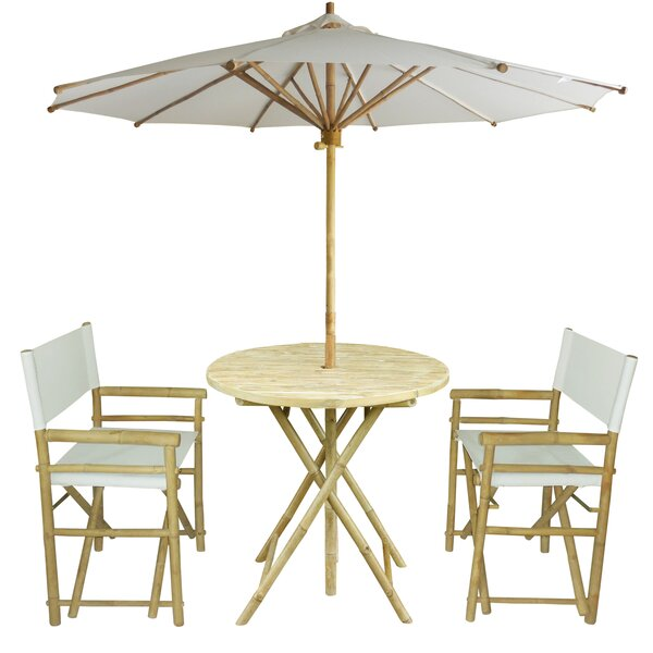 Petra Bamboo 3 Piece Bistro Set with Umbrella by Bay Isle Home