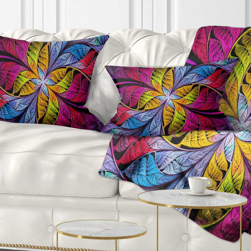 East Urban Home Abstract Fractal Stained Glass Lumbar Pillow Wayfair