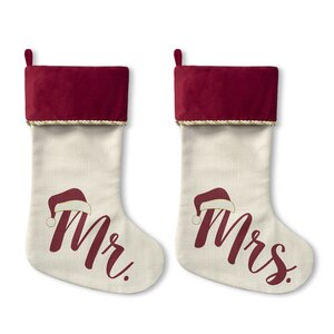 2 Piece Mr Mrs Santa Hat Stocking Set