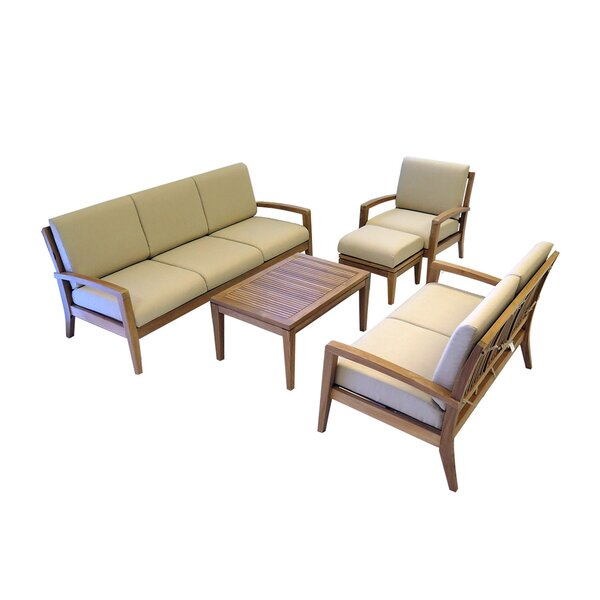 Ohana 5 Piece Teak Sofa Seating Group with Cushions by Ohana Depot