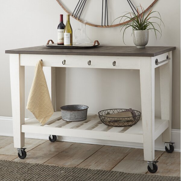 Duclos 2 Tone Kitchen Cart by Highland Dunes