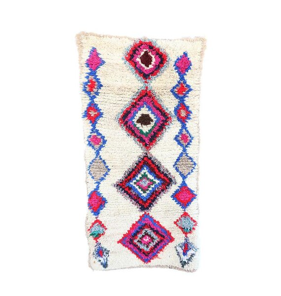 Azilal Vintage Moroccan Hand Knotted Wool Cream/Blue/Pink Area Rug by Indigo&Lavender