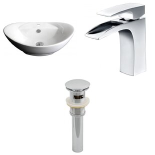Best Price Ceramic Oval Vessel Bathroom Sink with Faucet and Overflow By American Imaginations