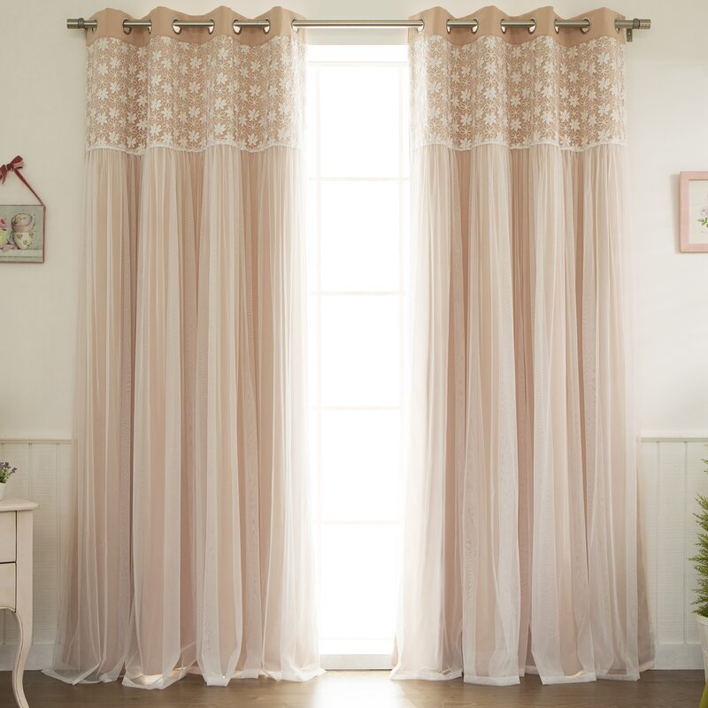 Jacksonburg Lace Overlay Nature/Floral Blackout Thermal Grommet Curtain  Panels