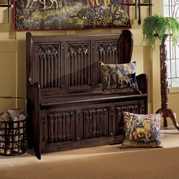 Kylemore Abbey Gothic Wood Storage Bench by Design Toscano