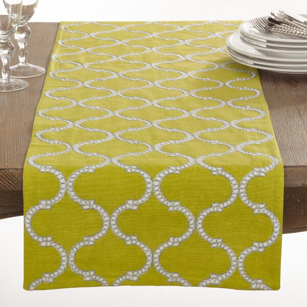 Dastan Stitched Lattice Table Runner by Saro