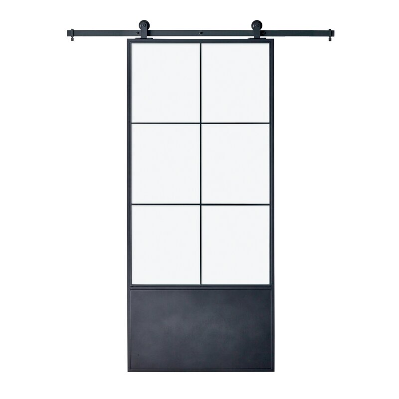 Clear Glass/Paneled Metal and Glass Broadway Barn Door with Installation Hardware Kit