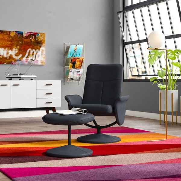 Warrington Swivel Armchair and Ottoman by Latitude Run