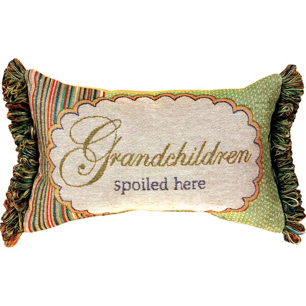Grandchildren Spoiled Here Word Lumbar Pillow by Manual Woodworkers & Weavers