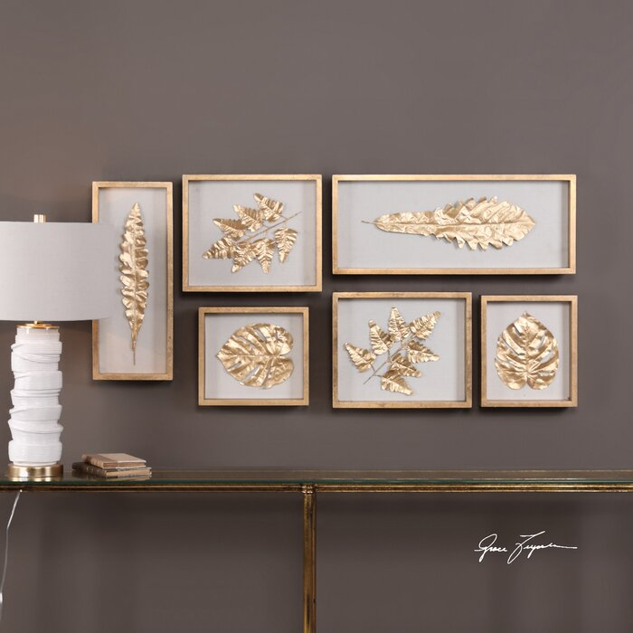 6 Piece Leaves Shadow Box Wall Décor Set