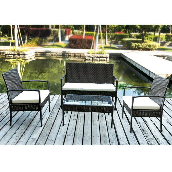 Adish Merax 4 Piece Rattan Sofa Seating Group with Cushions by Latitude Run