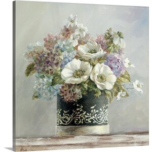 Anemones in Black and White Hatbox by Danhui Nai Painting Print on Wrapped Canvas by Great Big Canvas