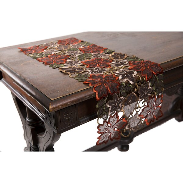 Dainty Leaf Embroidered Cutwork Mini Fall Table Runner by Xia Home Fashions