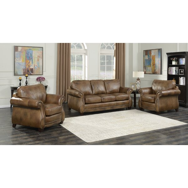 Simone 3 Piece Leather Living Room Set by Fleur De Lis Living